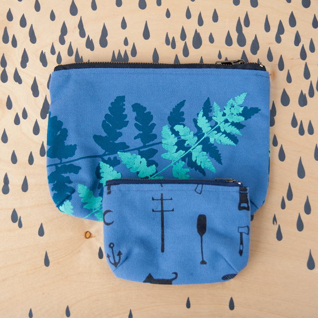 Canva Pouches in blue