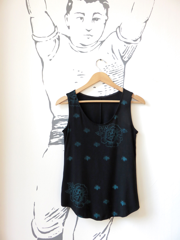 Ima Tank - Black with Bees and Peonies