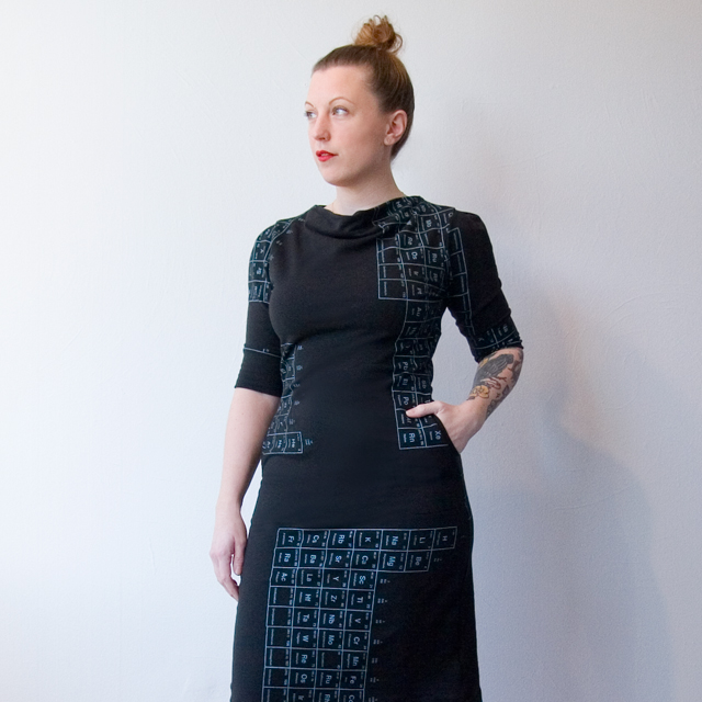 Smoking Lily Point Grey Dress - Black with Periodic Table